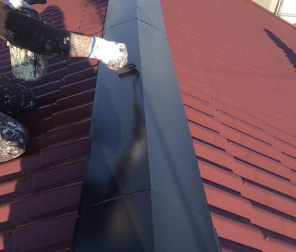 東京都東大和市 屋根塗装 下塗り→中塗り→上塗り 水谷ペイント 遮熱塗料 快適サーモ