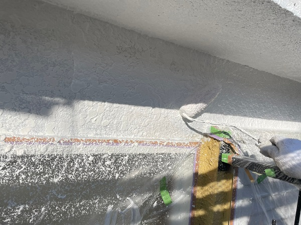 東京都東大和市 M様邸 外壁塗装 下地処理 パターン付け・肌合わせ 下塗り (1)