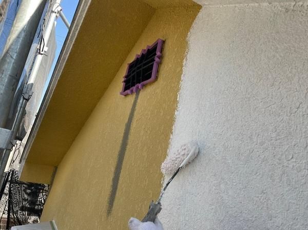東京都東大和市 M様邸 外壁塗装 下地処理 パターン付け・肌合わせ 下塗り (2)