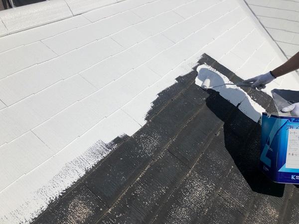 東京都東大和市 E様邸 屋根塗装 関西ペイント アレスクールシーラー RSルーフ2液F (1)