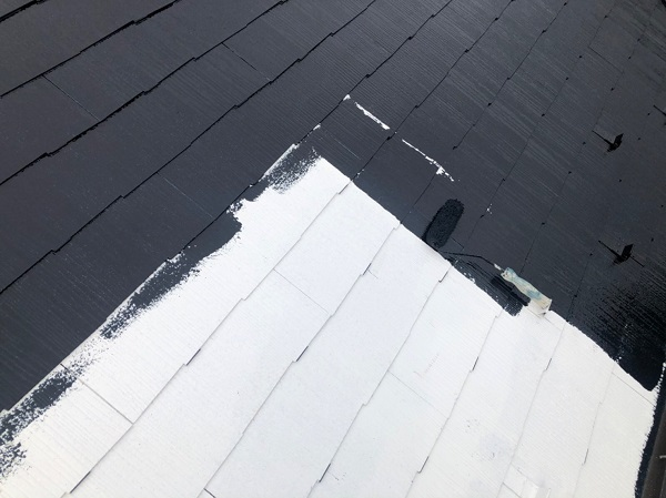 東京都東大和市 E様邸 屋根塗装 関西ペイント アレスクールシーラー RSルーフ2液F (3)