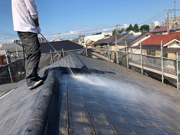 東京都東大和市 E様邸 屋根塗装 関西ペイント アレスクールシーラー RSルーフ2液F (5)